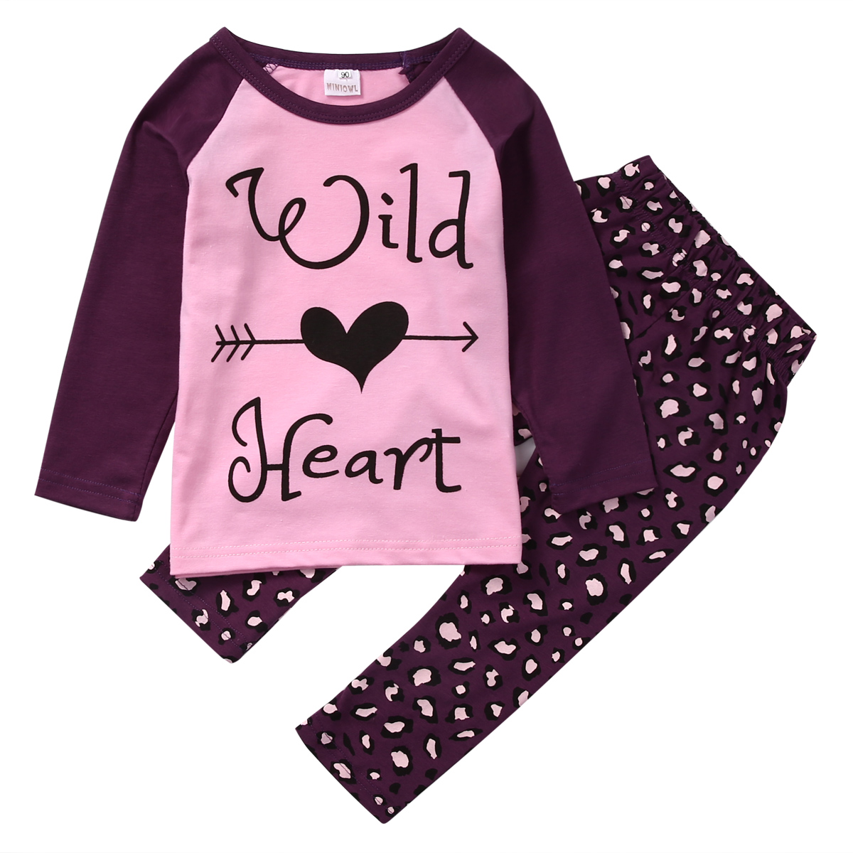 2PCS Set Toddler Kids Girls Clothes Wild Heart Long Sleeve T-shirt Tops Pant Outfit Cute Girl Children Suit 1-6Y 2017 cute kids girl clothing set off shoulder lace white t shirt tops denim pant jeans 2pcs children clothes 2 7y