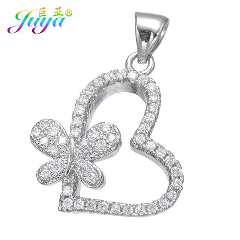 Juya Ali Moda Micro Pave Zirconia Heart Butterfly Charm Pendants Accessories For Women Necklace Jewelry DIY Making