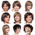 Women Ladies Short Hair Wig Dark Blonde Brown Bob Pixie Boycut Wispy Deep Curly Wavy Layer Full Head Wigs