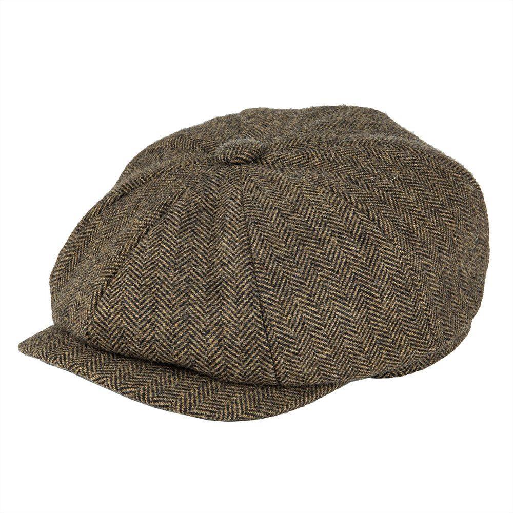 BOTVELA Wool Tweed Newsboy Cap Herringbone Men Women Gatsby Retro Hat Driver Flat Cap Black Brown Yellow Navy Blue 005