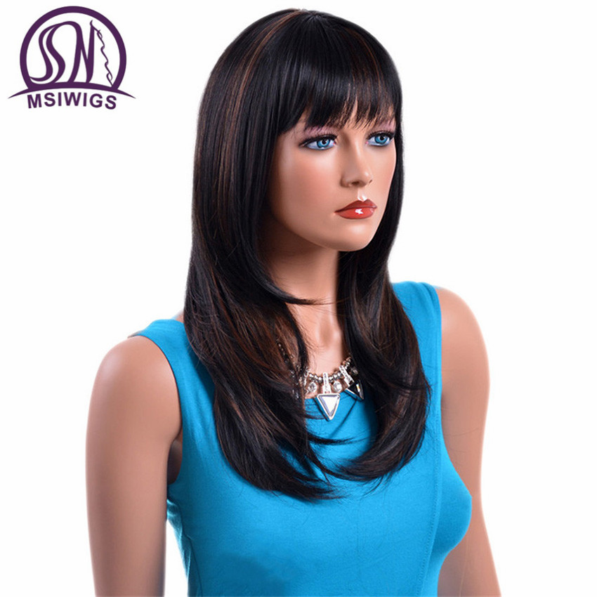 MSIWIGS Long Kinky Straight Natural Wigs Synthetic Hair for Women High Temperature Fiber Black Ombre Wigs with Highlight