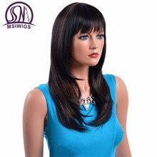 Msiwig perruques synthétiques, cheveux naturels, lisses et longs, en Fiber de haute température, noire ombrée avec mise en évidence, pour femmes