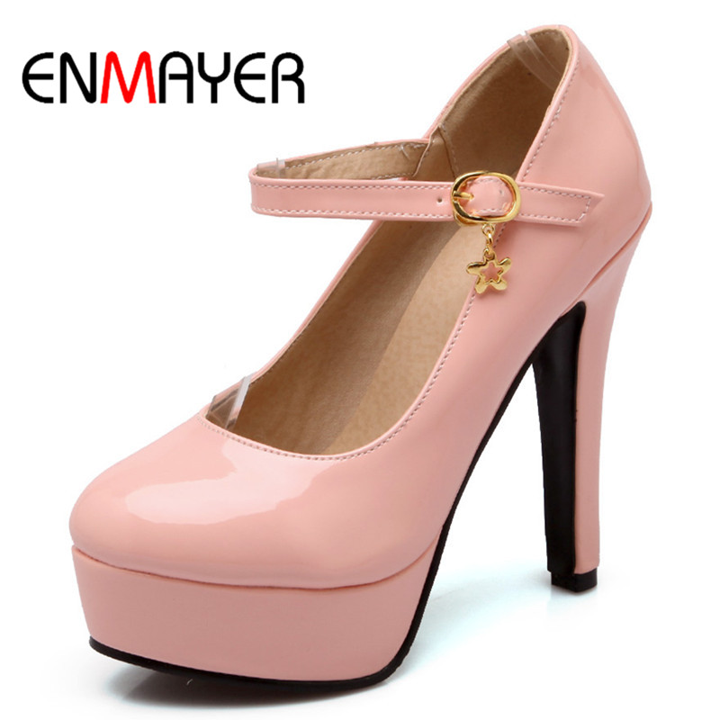 ФОТО ENMAYER Platform Pumps Ladies High Heels Casual Shoes Thin Heels Round Toe Office&Career Plus Size Patent Leather Women Pumps