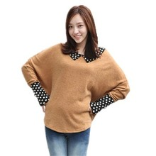 Batwing sleeve Dot peter pan collar cute sweater autumn thin pullover sweaters long patchwork new knitwear oversized