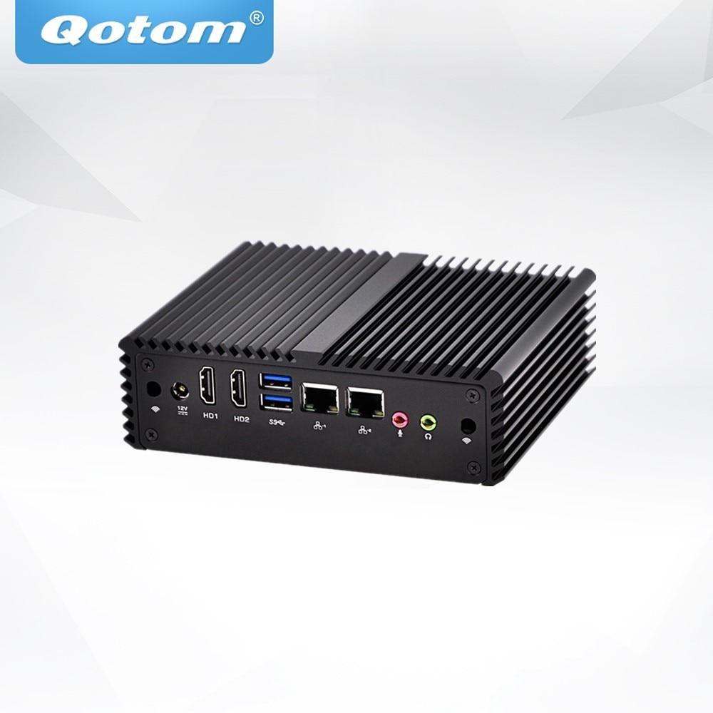 QOTOM Industrial PCs Q430SY Q450SY Core I3-4020Y I5-4300Y Processor, AES-NI SIM Slot Dual LAN Fanless IPC