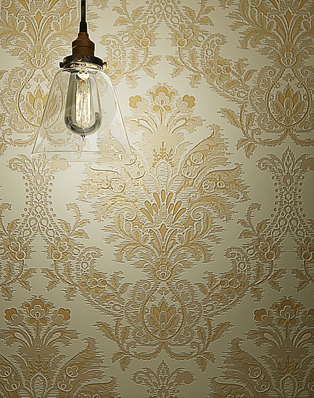European style Beige Velvet Flocking Damask Wallpaper купить недорого в Москве