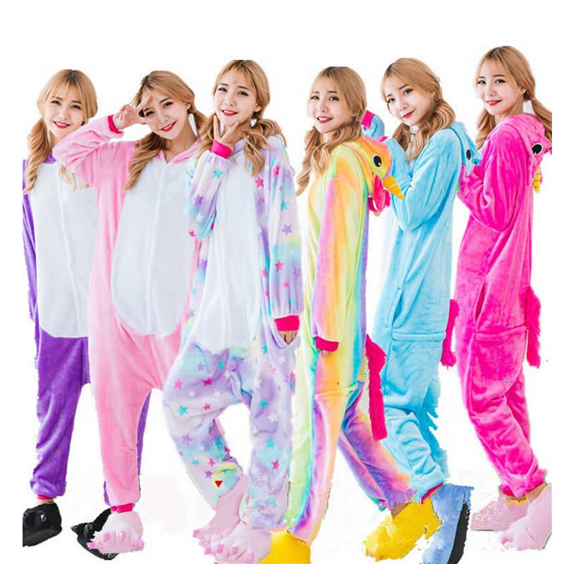 Cute Halloween Adult Anime Pajama Sets Cartoon Sleepwear Women Pajamas  Flannel Animal Panda Unicorn Cosplay Winter 999817f3a
