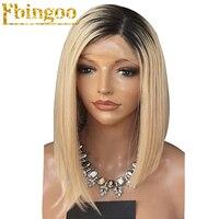 Ebingoo High Temperature Fiber Peruca Short Straight Bob 2 Tones Black Ombre Blonde Synthetic Lace Front Wig For White Women