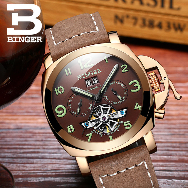 Original Luxury Brand BINGER Style PANERAI Skeleton Tourbillon Design Automatic Mechanical With Leather Band Strap 4