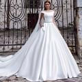 DW804 Simple White Satin Wedding Dresses With Long Train Crystal Belt Bridal Gowns Plus Size Customized vestido de noiva