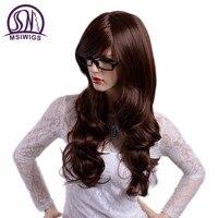 MSIWIGS Ondulate Lunghe Marrone Parrucche con la Frangetta Colore Naturale Capelli Pieni Parrucche Sintetiche per Le Donne Fibra Resistente Al Calore