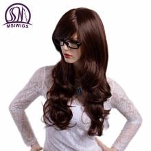 Msiwigs cor marrom perucas longas onduladas com franja cabelo perucas sintéticas para mulheres fibra resistente ao calor