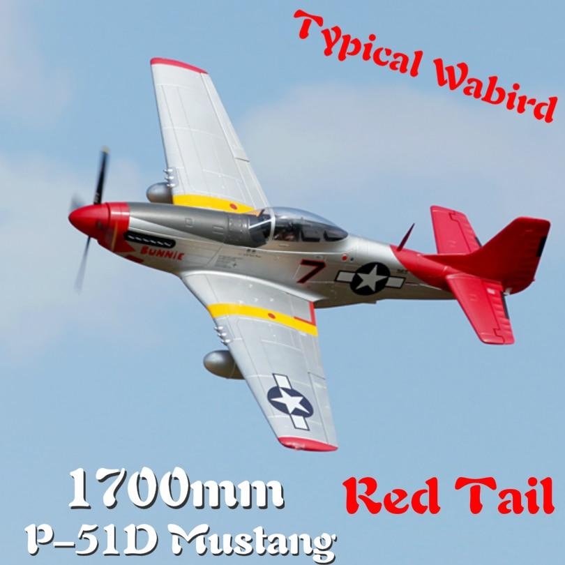 FMS 1700mm 1.7 M P51 P-51D Mustang queue rouge 6CH 6 S avec rabats rétracte PNP RC Avion Warbird modèle Avion de loisirs Avion