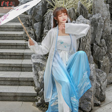 Chinese style Hanfu 3 pieces / set of improved fresh and elegant fairy students daily embroidery spring autumn suit women