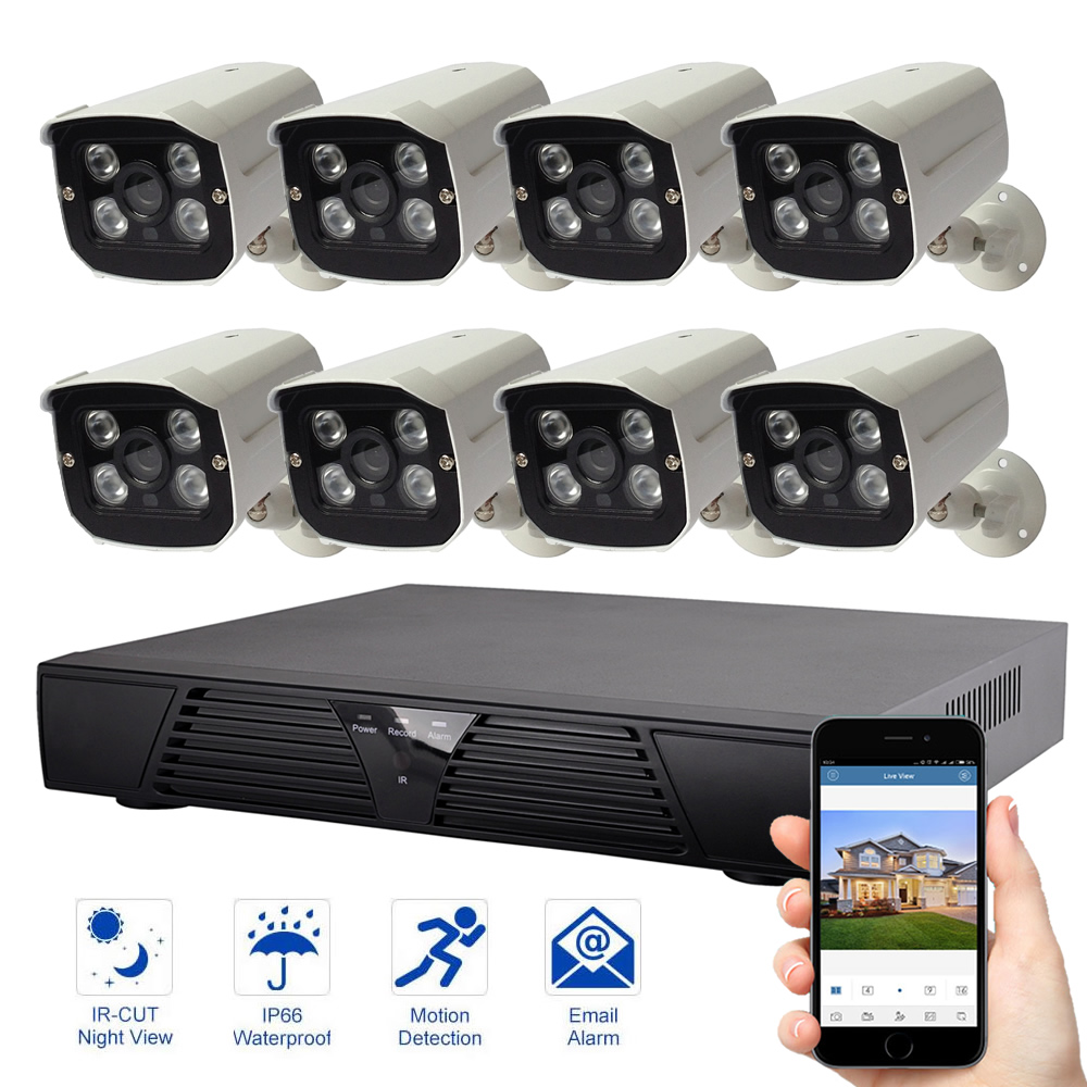 8CH 1080P IP Camera Video Surveillance System Night Vision Security System Outdoor Waterproof Security Camera Kit8CH 1080P IP Camera Video Surveillance System Night Vision Security System Outdoor Waterproof Security Camera Kit