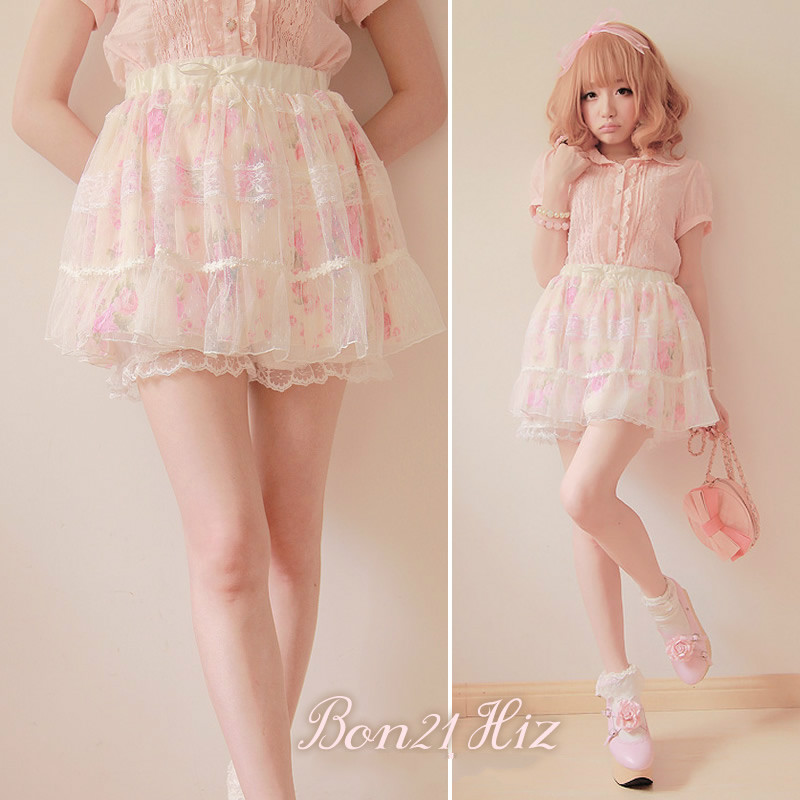 BOBON21 Sweet lolita skirt princess pink rose lace Beautiful flower chiffon skirt ball gown dot gauze culottes short skirt b0829