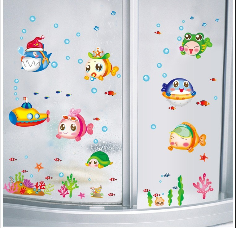bathroom decals for kids aliexpress buy sea fish plane wall stickers bathroom 15776