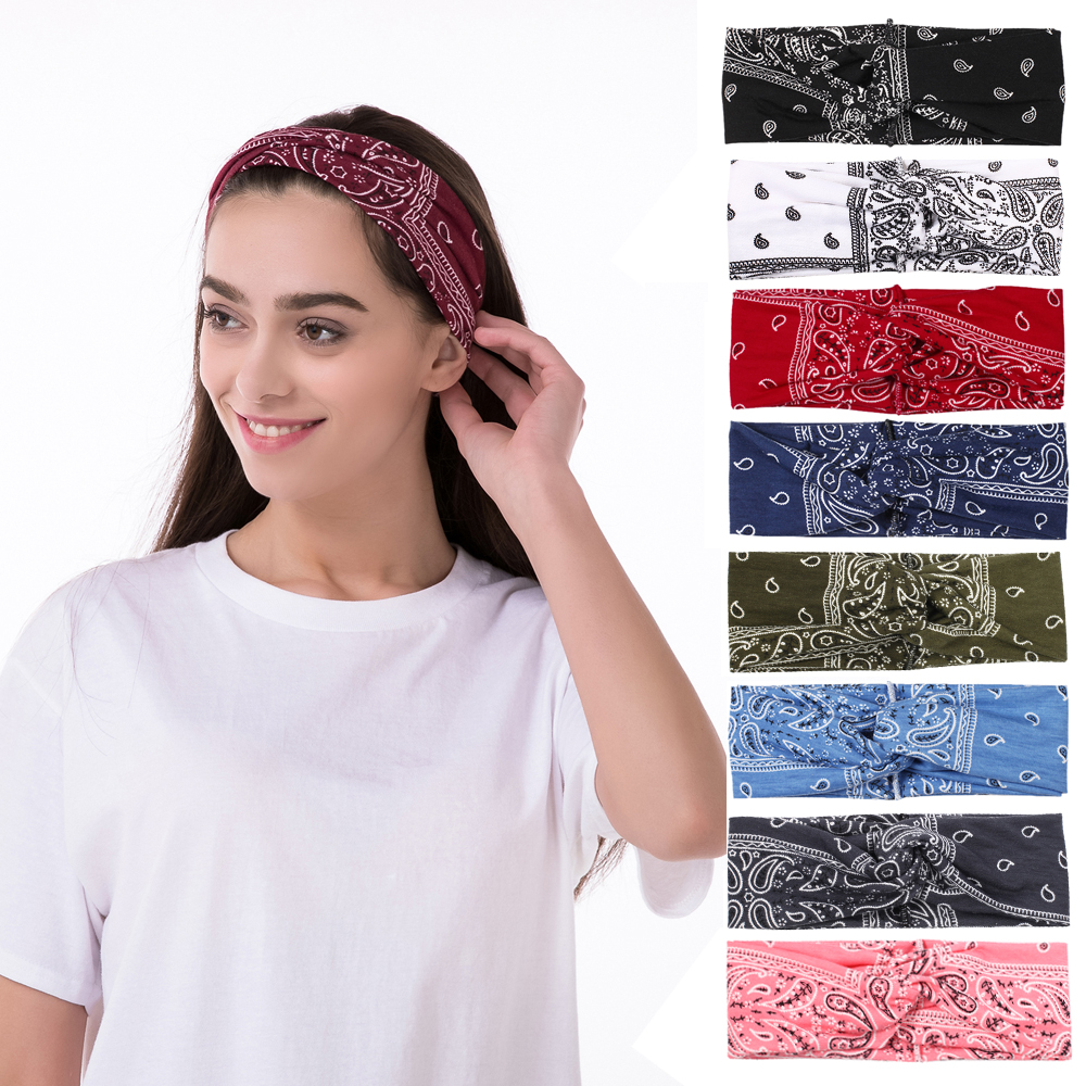 New Hot Korean Style Print Women Hairbands Fashion Korea Pattern 5 Colors Female Headbands Knit Soft Floral Head Wrap Wholesale