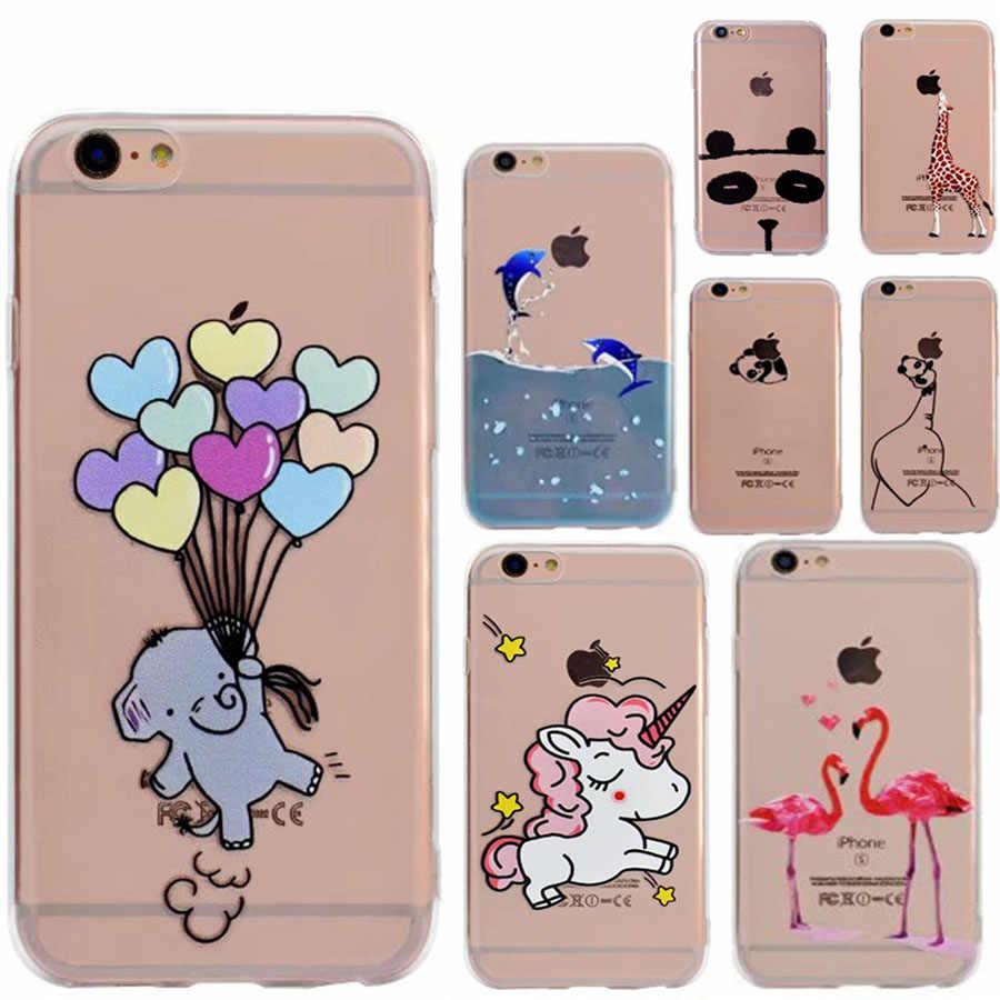 Flamingi miękkie TPU Slim etui na telefon dla IPhone 5 5S SE 6 6 S 7 8 Plus X 10 śmieszne panda słoń silikonowa tylna pokrywa przypadku powłoki