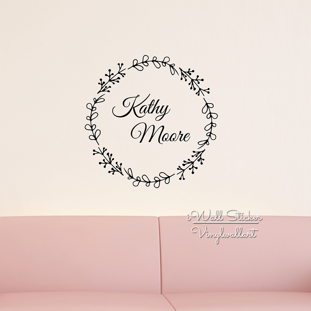 Frame custom name wall sticker girls name wall decal kids room stickers cut vinyl personalized children decals diy decors c32