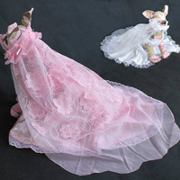 2 Pieces Set Embroidered Pink Dog Dresses Wedding Princess Dress For Dogs Pet Skirt Clothes Supplies