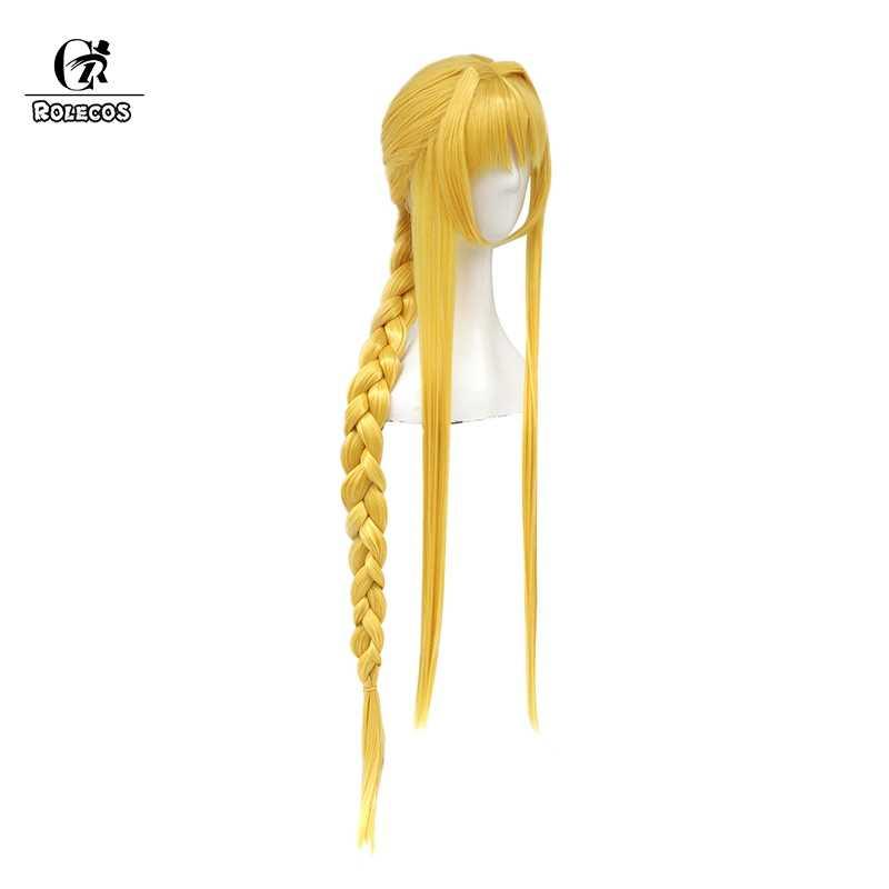 ROLECOS меч арт онлайн алисизация Аниме Косплей волосы Алиса Косплей головные уборы желтый конский хвост коса длинные женские волосы осень