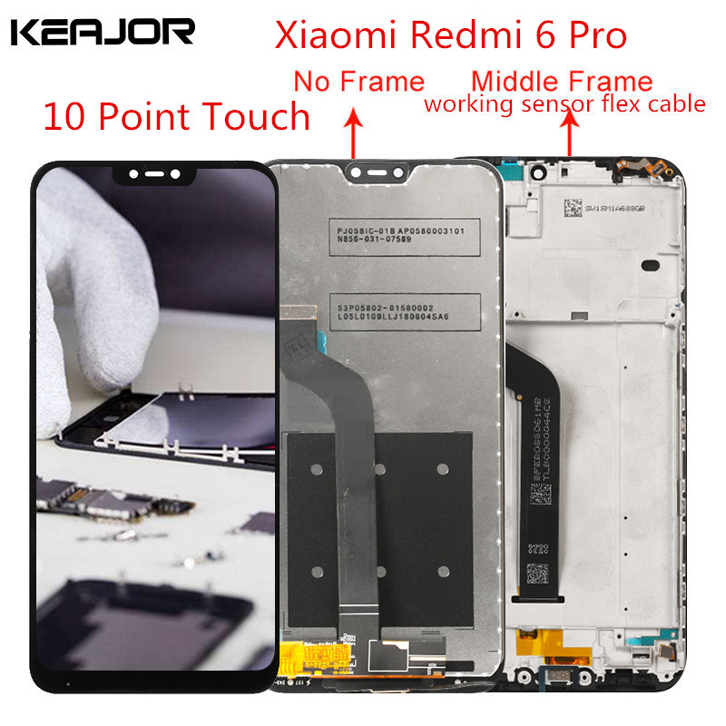 Pour Xiaomi Redmi 6 Pro écran lcd Testé AAA écran lcd + écran tactile Avec Cadre Remplacement Pour Xiaomi Redmi 6 Pro Smartphone