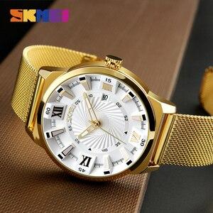 Image 2 - Reloj de cuarzo SKMEI de marca de lujo para hombre, relojes de pulsera con correa de oro para negocios, relojes de pulsera para hombre a prueba de agua, reloj Masculino 9166