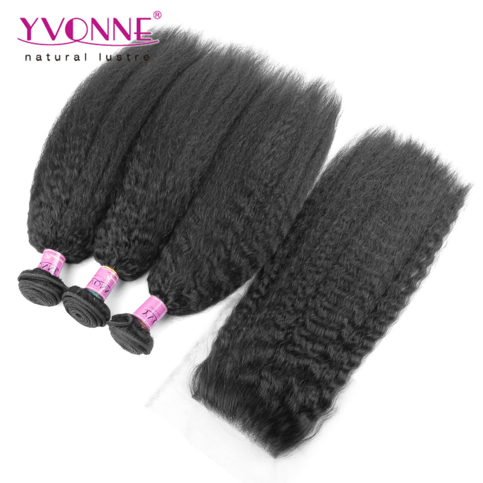Kinky Straight Brazilian Virgin Hair With Closure, 3 Bundles Human Hair Weave With Closure, New Arrival YVONNE Hair Products