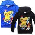 Camiseta de los muchachos del Otoño Niños Pokemon Pokemon Pikachu Sudaderas de Dibujos Animados de Manga Larga Camisetas Ir Caliente Embroma la Ropa Moleton Menino
