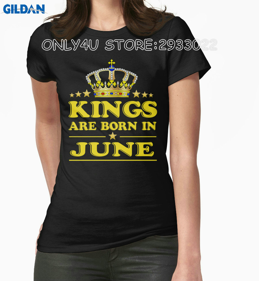 Gildan Only4U Cheap Graphic T Shirts O-Neck Short Kings Are Born In June Short-Sleeve Tee Shirt For Women