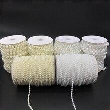 2,5-10 мм белый цвет слоновой кости имитация жемчуга бусины цепочка гирлянда цветы акриловые бусины для свадебного украшения DIY ювелирные аксессуары