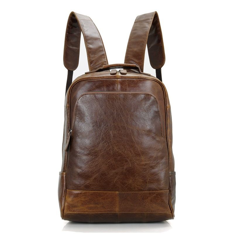 Brown J7347 Extremely Efficient In Preserving Heat Top Quality Brand Fashion Genuine Leather Mens Backpacks Preppy Style Unisex Women Backpack Bolsas Coffee Men's Bags