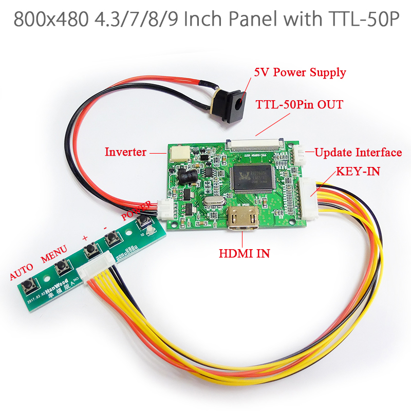 800x480 4 3 Inch 7 8 9 Inch HDMI 1080P to 50Pin TTL Signal Output LED