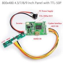 800×480 4.3 дюймов 7 8 9 дюймов HDMI 1080 P к 50Pin TTL сигнала Выход LED ЖК-дисплей Универсальный контроллер доска + 5Key кнопка + DC AT070TN92