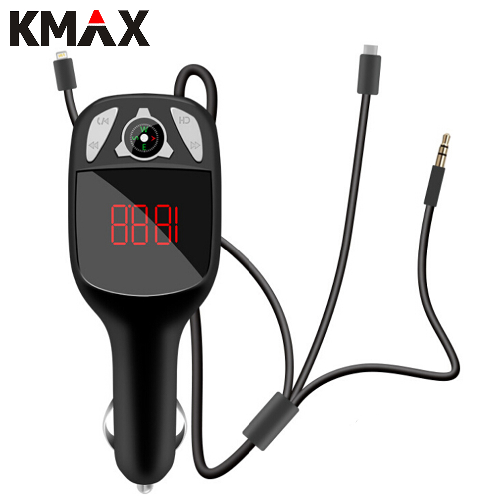 Kmax car charger for phone mp3 player bluetooth wireless fm transmitter radio adapter aux hands free phone for iphone charger