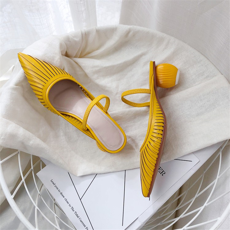 Ouqinvshen Pointed Toe Yellow Heels Fashion Strange Style Party Casual Summer Sandals 2019 Genuine Leather Sexy Shoes Woman 2019