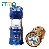 ITimo DIODO EMISSOR de Luz de Emergência Lâmpada de Acampamento Caminhadas Ao Ar Livre Lanterna de Mão Dobrável Com Ventilador Movido A Energia Solar Portátil Taxa de Telefone USB
