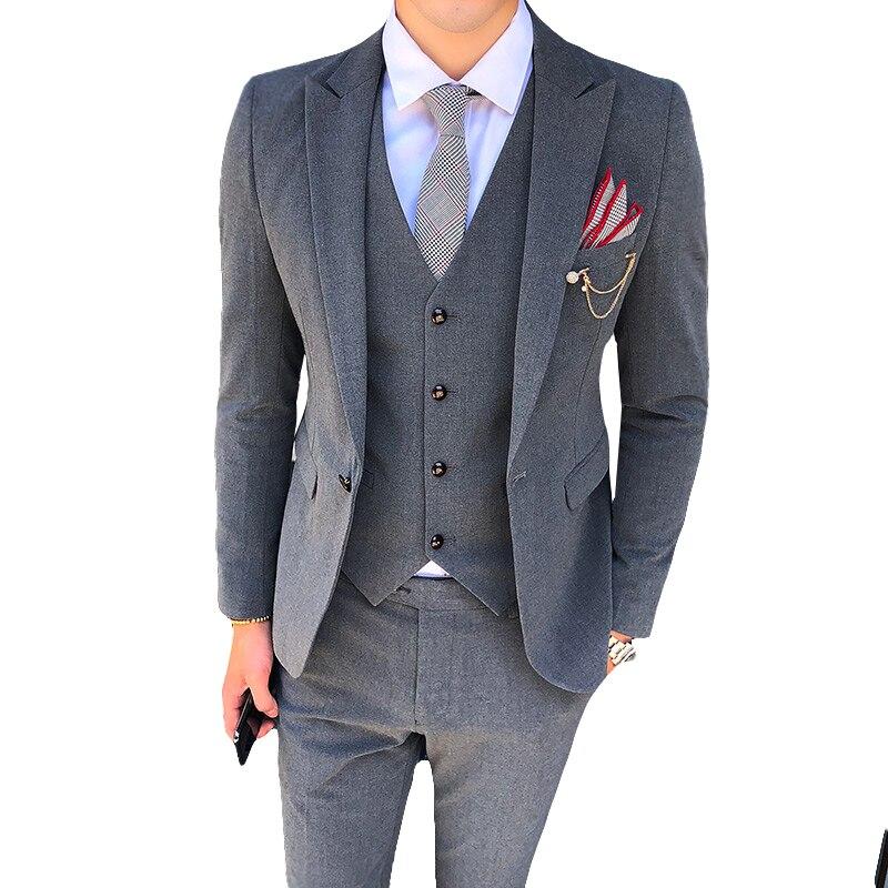 (Топ + штаны + жилеты) новый костюм деловой повседневный костюм джентльмена костюм из трех предметов, приталенный костюм, одна застежка, кост...
