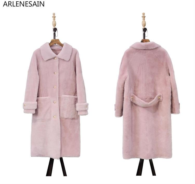 Laine À Manteau Tonte Cuir Arlenesain De Fourrure Femmes rose Personnalisé En Or Longues Veste Manches Moutons blanc Des Long w0vIvq