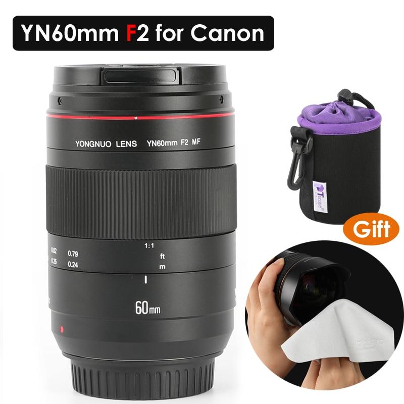 YONGNUO Macro Lentille YN60mm F2 MF 0.234 m Macro Lentille Mise Au Point Manuelle pour Canon EOS 70D 5DMK II 5 DIII 600D 700D DSLR Caméra