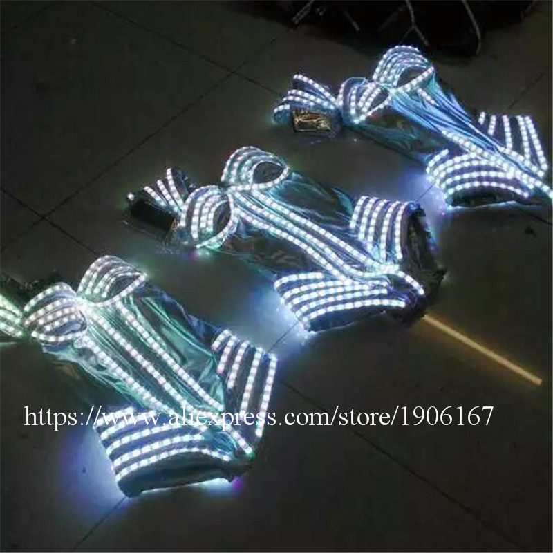 7 Colors Led Light Luminous Flashing Growing Costume Halloween Dance Suit Sexy Lady dress5