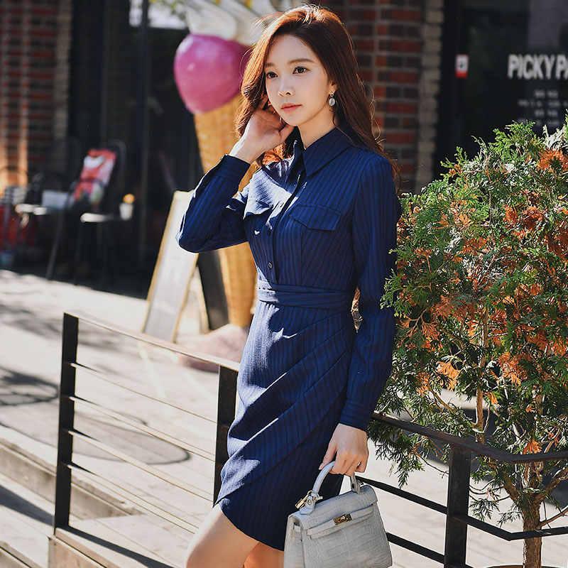 af9d75bb32ca9 Dabuwawa Spring Office Lady Striped Shirt Dress 2019 Women New Long Sleeve  Asymmetrical Bodycon Dresses Navy Blue DN1ADR012