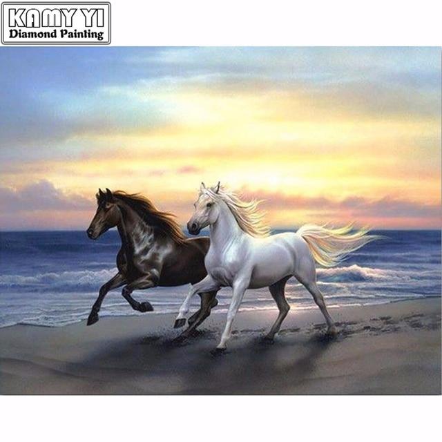 Tableau cheval et plage 1 Nouveau 3D diamant peinture point de croix deux chevaux plage course cristal couture diamant broderie