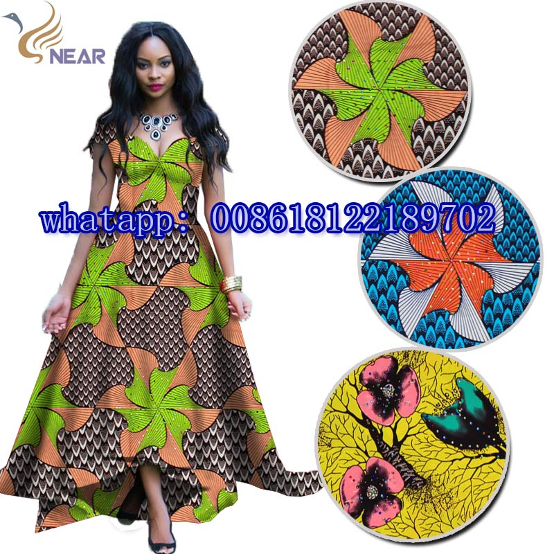 Unique ankara fabric material african super wax with stones for kids cloth sewing&crafts 100%cotton 6 yard/lot W17071402