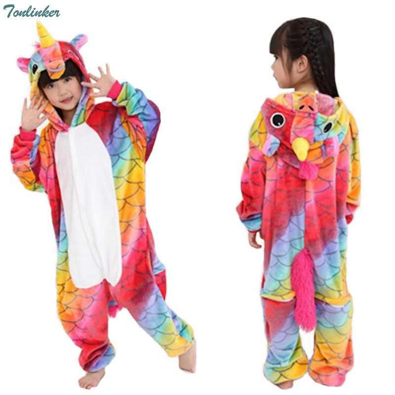 Дети комбинезон единорог пижамы обувь для девочек мальчиков Радуга Единорог  комбинезон с капюшоном пижамы Аниме мультфильм 9d39e3ea0e312