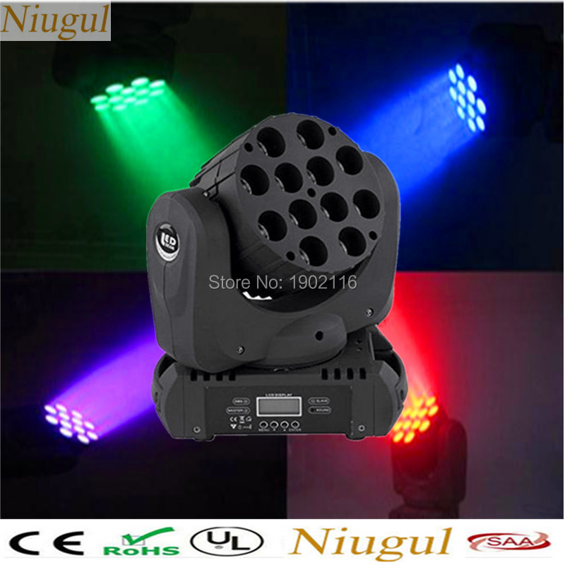 Niugul 12x12W RGBW 4in1 LED Moving Head light DMX512 LED wash linear beam with Excellent Pragrams LED SPOT DJ stage effect light