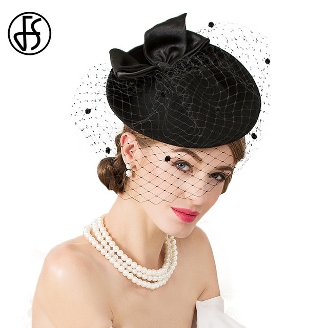 8cc45c7839f58 FS Fascinator For Women Elegant Wool Felt Hats Pillbox Wedding With Veil  Lady Black Vintage Cocktail