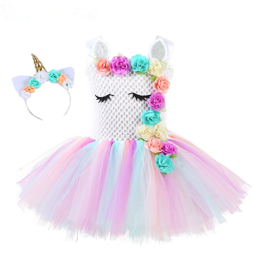 New Tutu Dress Girl Queen Unicorn Cosplay Lovely Princess Dress Kids Flower Design Halloween Party Cosplay Costumes Birthday