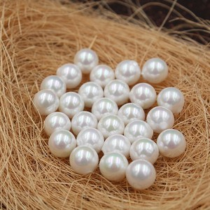 Image 1 - White Color Nice Quality South Sea Oyster Round Shape Shell Pearls Half Drilled Loose Pearls, 50pcs/lot